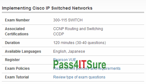 2018-April-NEW] High Pass Rate Cisco 300-115 Dumps SWITCH